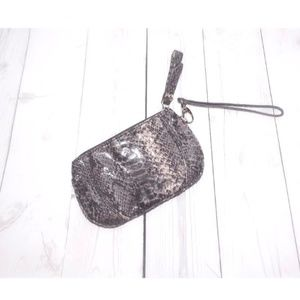New York & Company Mini Snakeskin Wristlet Clutch